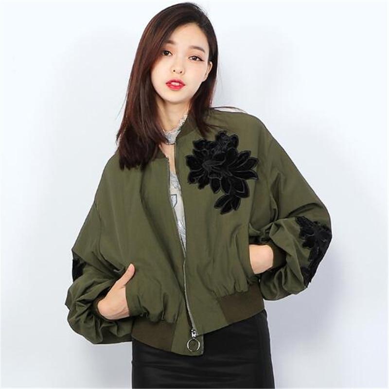Women Short Coat Ladies Casual   Basic     Jackets   Embroidery Long Sleeve Loose Green Overcoat Fashion Clothing Female Black Ma331
