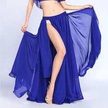 Falda de danza del vientre para mujer, traje de danza Oriental de Color sólido, corte alto, falda de danza del vientre dividida Unilateral de la India de Bollywood, falda largo para baile
