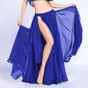 Women Belly Dance Skirt Solid Color Oriental Dance Suit High cut India Bollywood Unilateral Split Belly Dance Long Skirt(China)