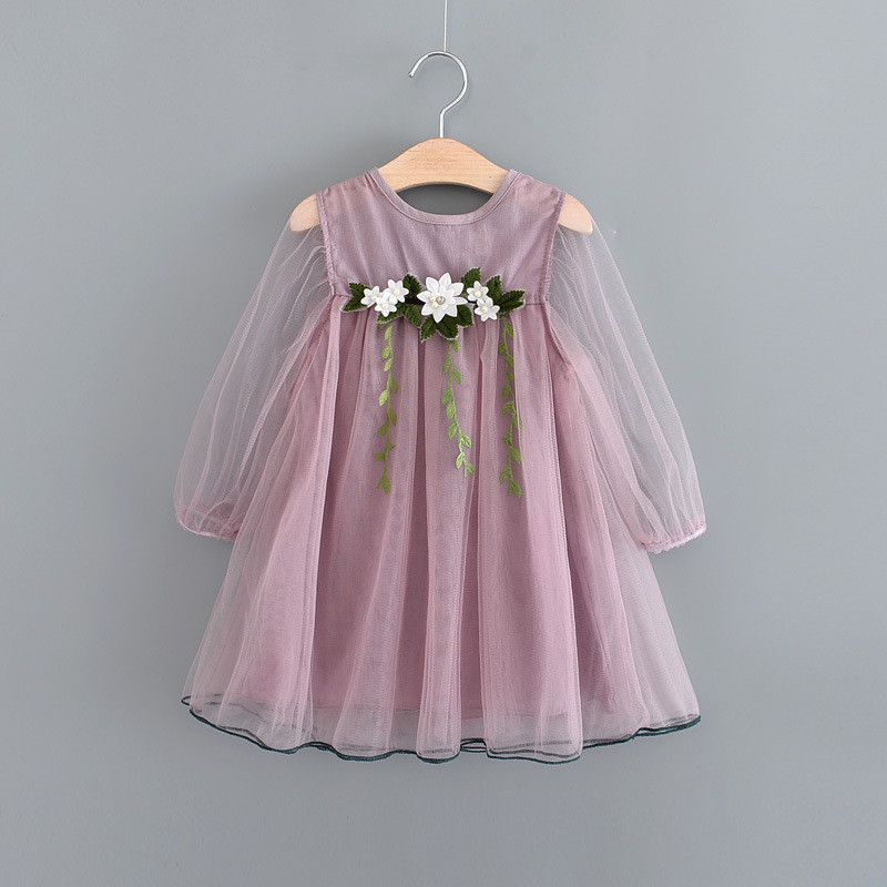 Spring Summer 2018 Childrens Girls Flowers Leaves Tulle Dress Purple White Grey Childrens Dressing Up Outfits ...