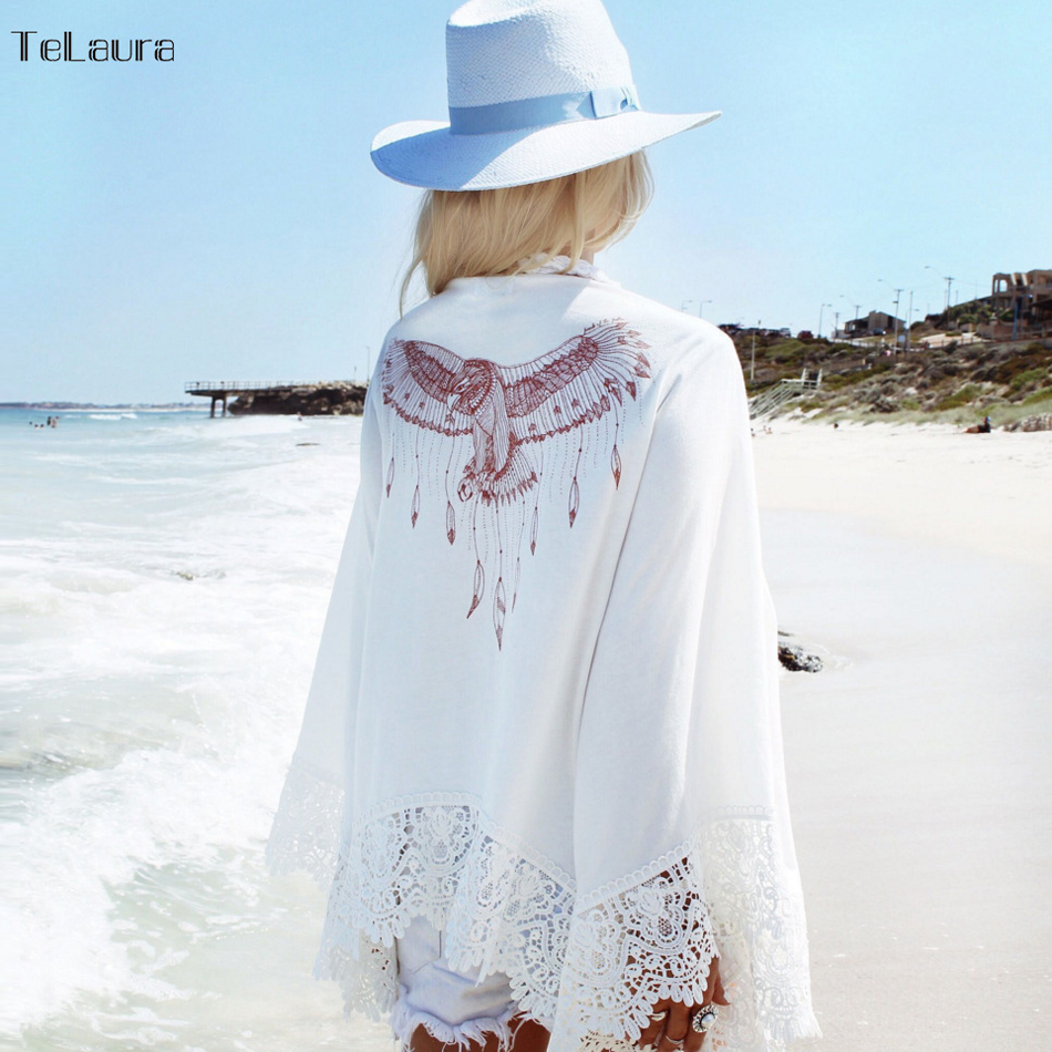 купить Sexy Beach Cover Up White Crochet Beach Tunic Women Bikini Cover-ups Beachwear Female Swimsuit Cover Up Loose Dress Swimwear по цене 951.29 рублей