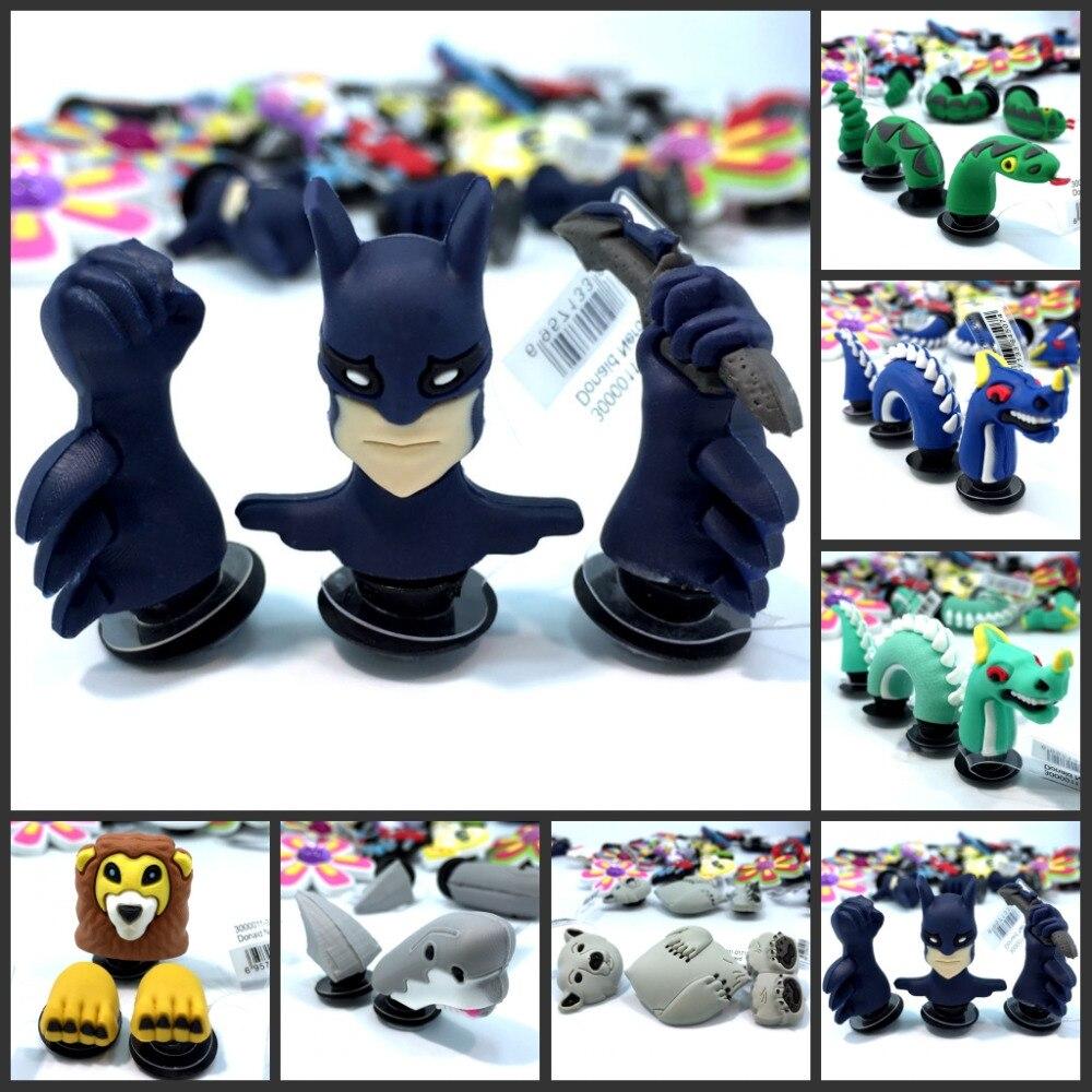 High Quality 2-3pcs/set Dragon Animal Batman Shoe Charms Shoe Accessories Shoe Decoration For Croc Jibz Kids Gift