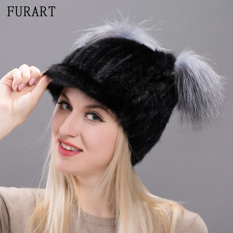 Winter Warm Hats Female With Natural Mink Fur Knitted Female Cap With Fox Fur Russian Caps Hat Mink Fur Hat For Women DXJ17-34