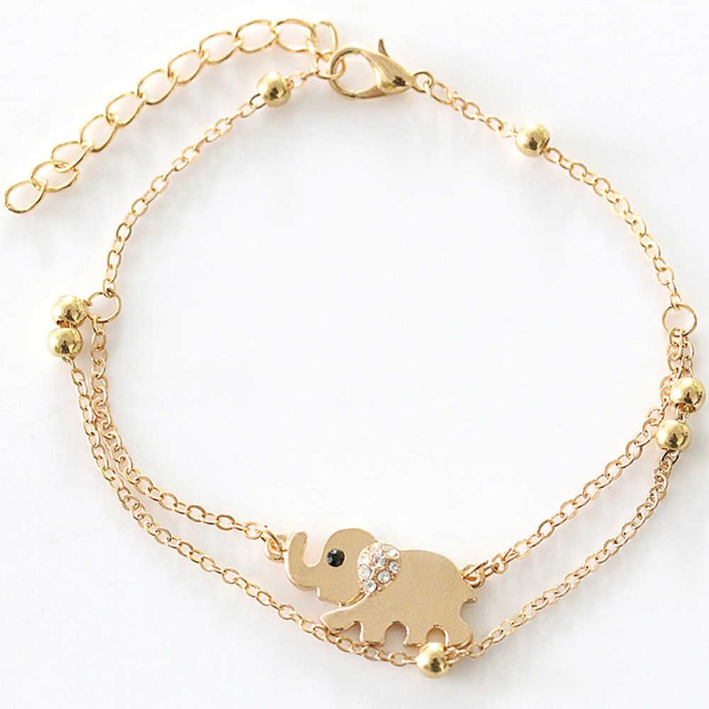 FAMSHIN Sexy Sandalias plaża Rhinestone słoń z indii łańcuszek na bosą stopę bransoletka na kostkę biżuteria na stopy obrączki dla kobiet