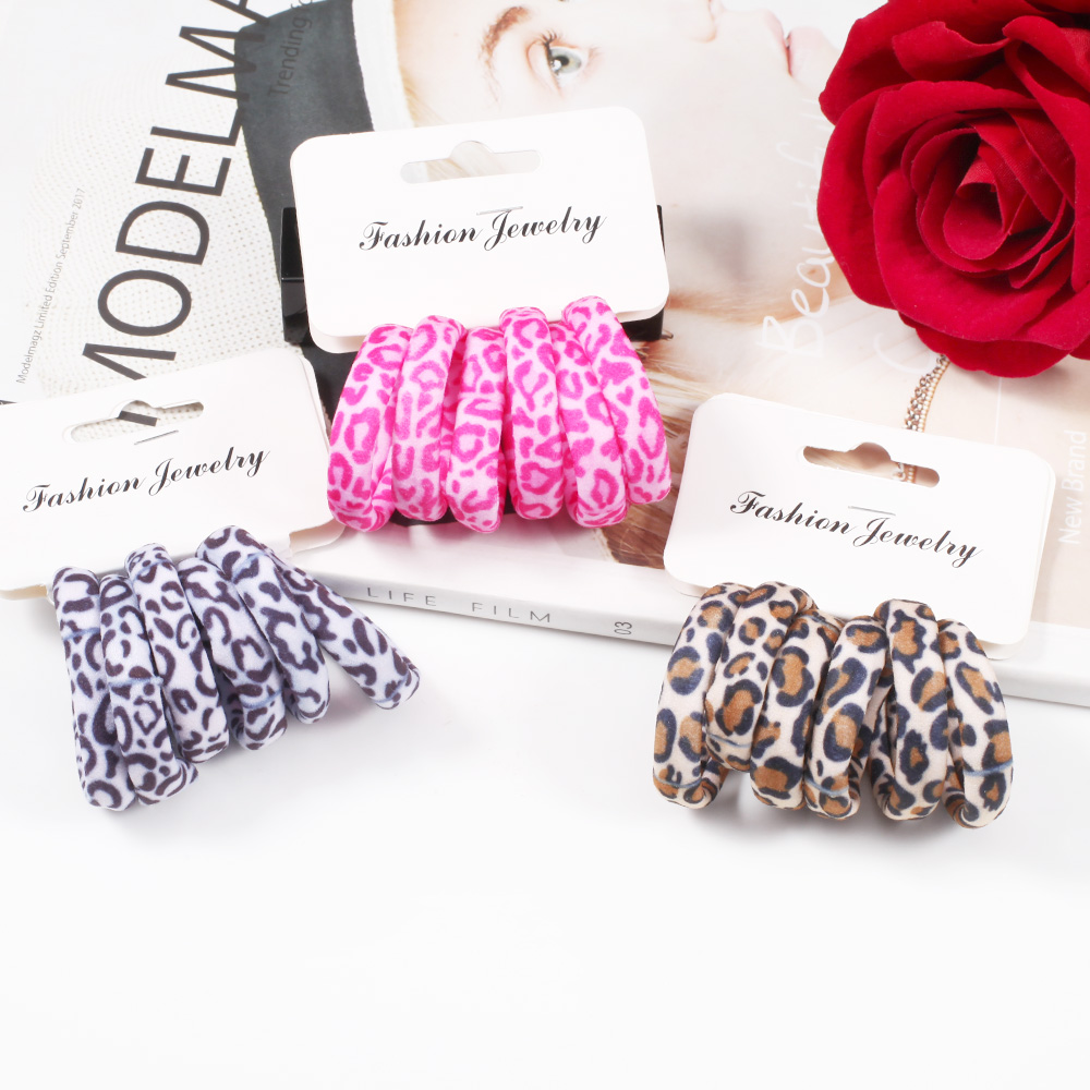 6pcs/set Leopard Print Hair Rope Elastic Rubber Hair Tie Headbands for Women Girls Holder Hairband   Headwear   Hair Accessories