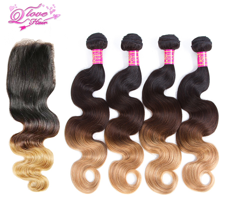 Queen Love Hair Pre-Colored Ombre Peruvian Body Wave Hair With Closure 1B/4/27 Non Remy Ombre Human Hair Bundles With Closure