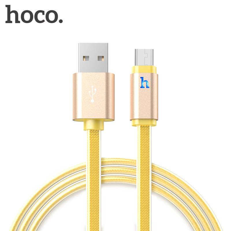 HOCO Metal Braided Flat Micro USB Cable LED 2A Fast Data Charger Cable for Xiaomi Samsung Android USB Charging Cord Microusb New