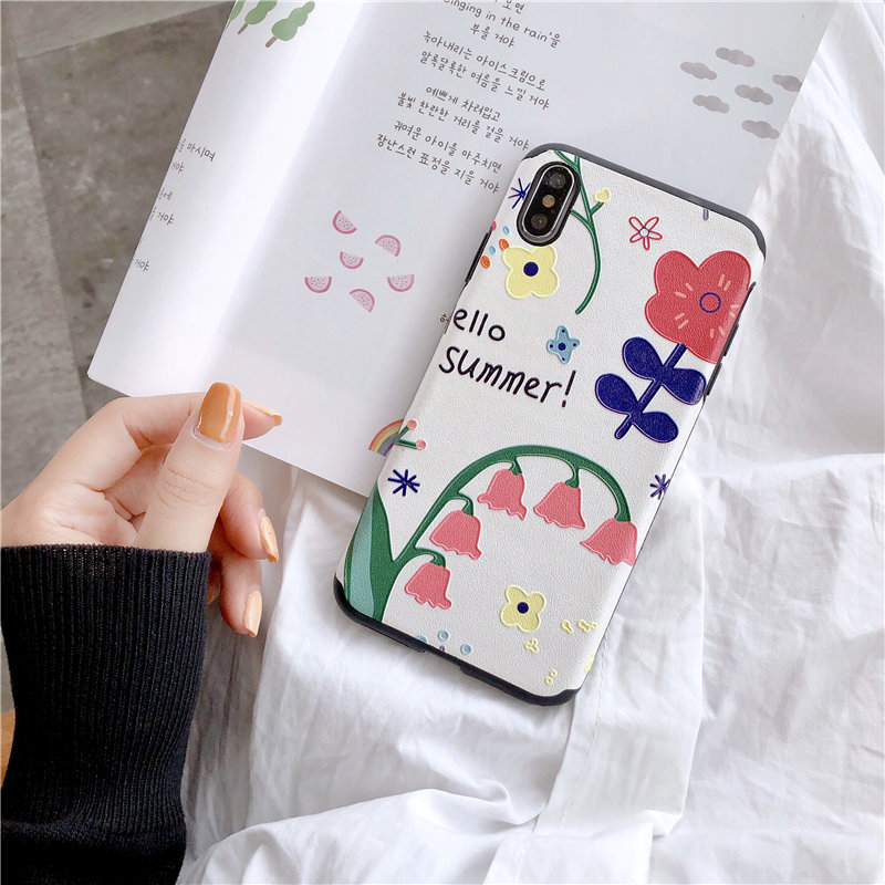 Silk Texture Case For iphone X XS MAX XR Cartoon Patterned Floral Matte Soft TPU Cover For Iphone 8 7 6S 6 Plus Back Funda Capa in Fitted Cases from Cellphones Telecommunications