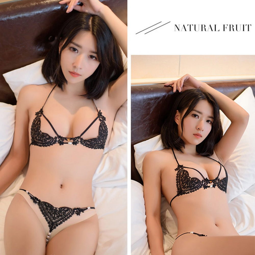 Porn Babydoll Sexy Lingerie Hot Lace Open Bra  Pearl Sexy -5490