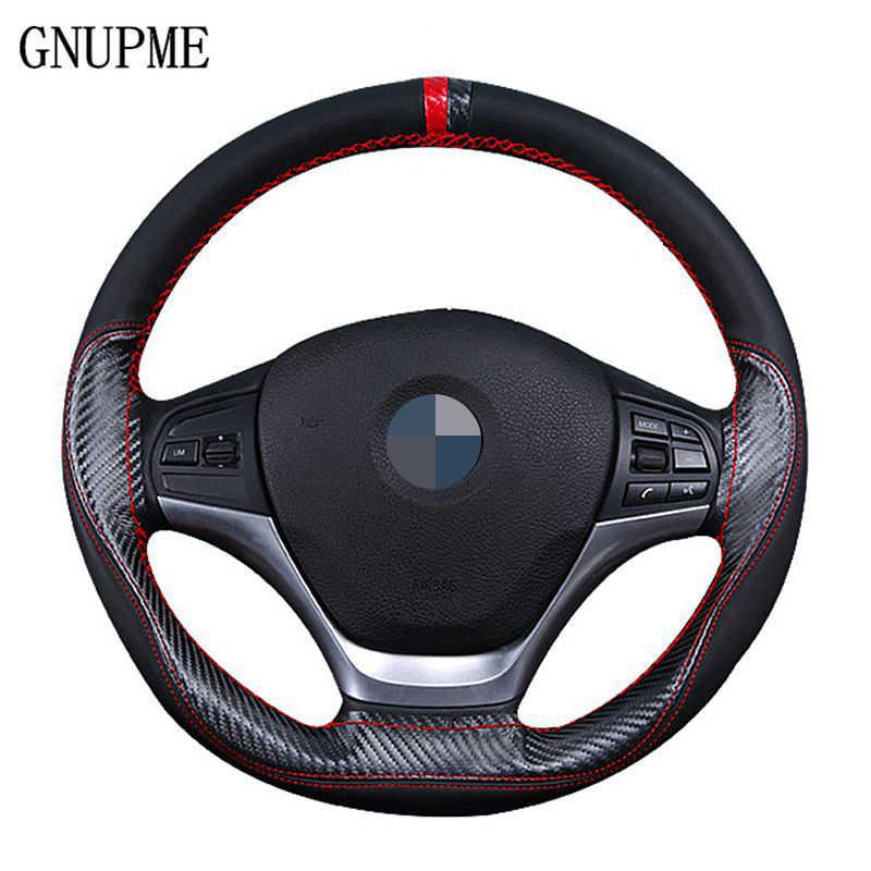 Cubierta del volante de cuero del coche de la costura de la mano de GNUPME cubierta del volante Universal 38cm cuatro estaciones