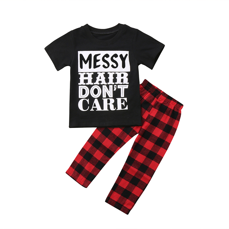 2PCS Toddler Kids Boy Girl Clothes Short Sleeve Letter Print Cotton T-shirt Tops+Red Plaid Pant Trouser Outfits Clothing Set