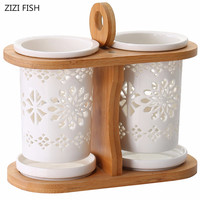 Kitchen Dining&Bar Ceramic knife and fork storage rack Porous drainage knife fork storage box Tableware Kitchen storage supplies