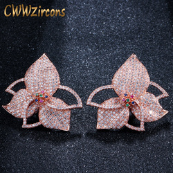 CWWZircons Exclusive Leaf Flower Multicolor Cubic Zirconia Pave Rose Gold Women Big Engagement Night Out Party Earrings CZ418