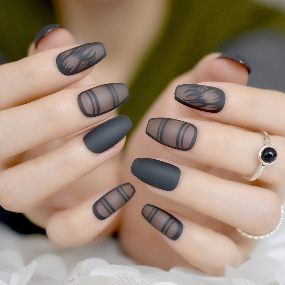 Matte Black Clear Ballerinas Coffin False Nails Tips Artificial Frosted Ballerina Fake Nail Art Manicure Accessories In From Beauty Health On