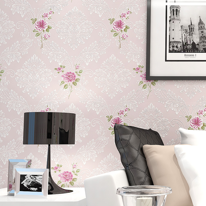 European Style Pastoral 3D Pink Floral Non-woven Wallpapers For Living Room Bedroom Bedside Wall Decorative Wallpaper Home Decor 3d modern wallpapers home decor solid color wallpaper 3d non woven wall paper rolls decorative bedroom wallpaper green blue