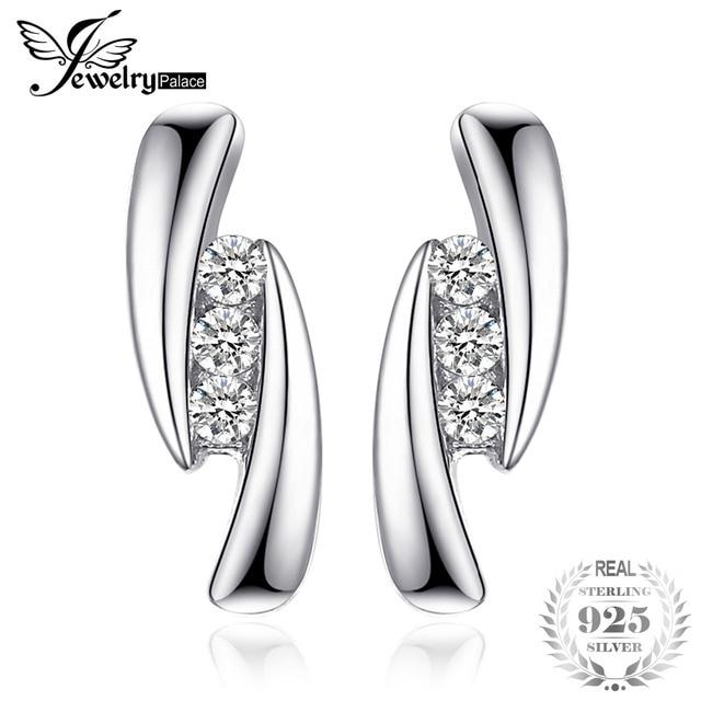 JewelryPalace Cubic Zirconia 3 stones Stud Earrings 925 Sterling Silver Earrings