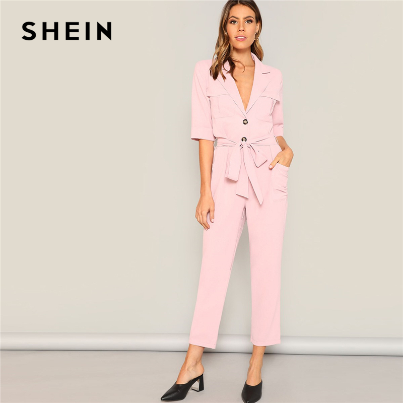 SHEIN Pink Notched Neck Buttoned Pocket Patched Belted Blazer   Jumpsuit   Women Office Lady Half Sleeve Solid Elegant   Jumpsuits