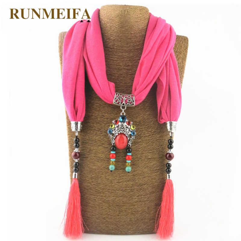 RUNMEIFA سحر قلادة وشاح الصلبة جديد وصول وشاح أنيق على الموضة مع الجماجم كبيرة شرابة شالات للنساء