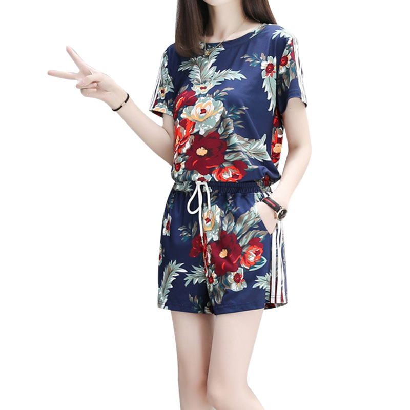 2018 Female Summer New Printed Large Size Slim Short Sleeves O-Neck T-Shirt And Wide Leg Elastic Waist Shorts Women Sets S-XXXL