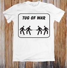 b452d14833f26 TUG OF WAR UNISEX T-SHIRT branco preto vermelho cinza calças camiseta terno  chapéu rosa t-shirt RETRO DO VINTAGE Clássico t-shir.