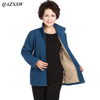 QAZXSW New Middle age Women Plus Size Fleece Coat Autunm Winter Jacket Woolen Long Cashmere Coats Cardigan Jacket Elegant YX8834