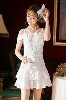 Księżniczka słodki lolita Cukierki Deszcz uprząż jedno słowo na ramię koronkowa sukienka C22AB7103