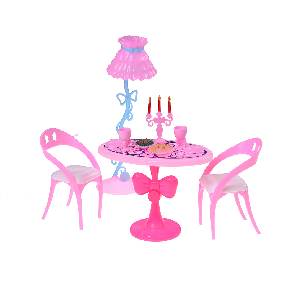 Vintage Table Chairs For Barbie Dolls Furniture Dining Sets Toys For Girl Kid Child For Pink