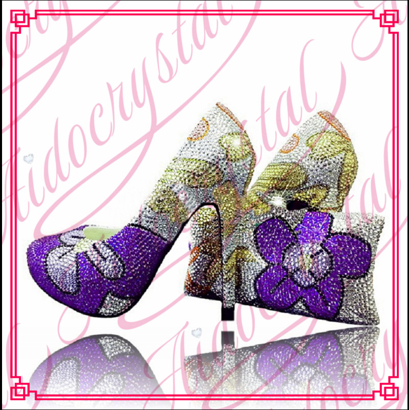 Aidocrystal purple crystal flower Italian shoes and bag sets 2016 evening ladies purse with high heels free shipping aidocrystal elegant peep toe shoes with detachable heels colorful rhinestone evening shoes with matching bags