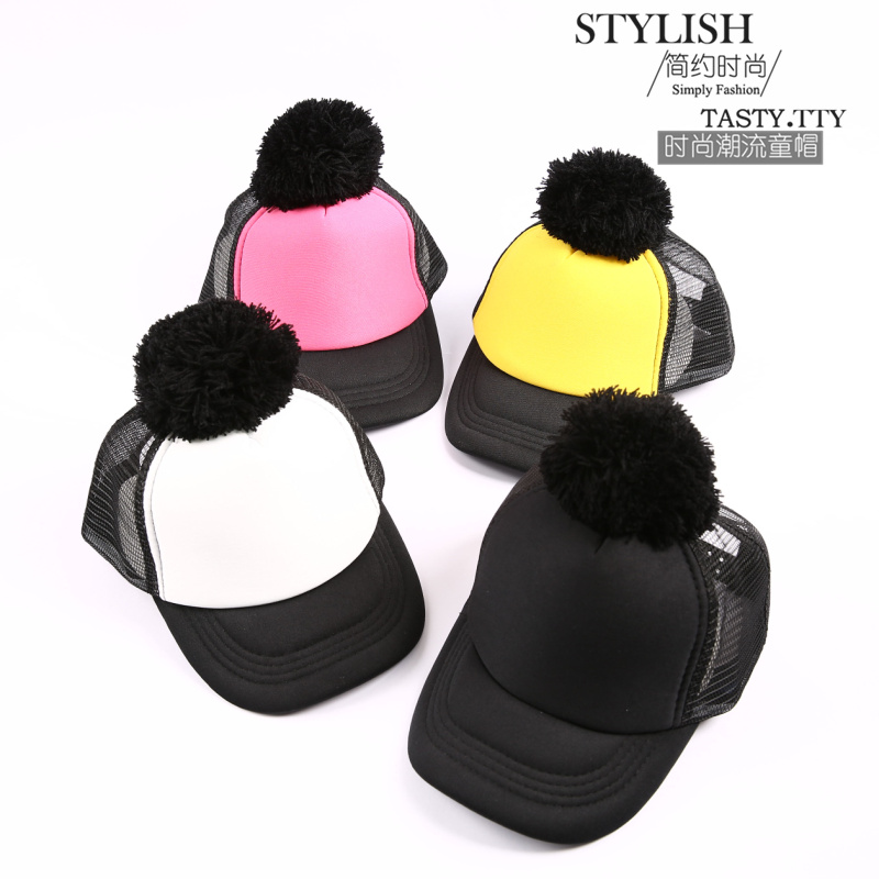 Spring Summer Big Ball Cap Kids Baseball Hats  Pom poms Hats Leisure Sun Visor Sun Mesh Hat Snapback Cap skullies beanies newborn cute winter kids baby hats knitted pom pom hat wool hemming hat drop shipping high quality s30