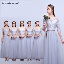 Long dress for wedding party for woman 2018 new lace a Line 6 style silver  grey f8f568d3d67f