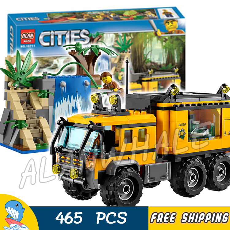 465pcs City Explorers Jungle Mobile Lab Waterfall 10711 Model Building Blocks Assemble Bricks Children Toys Compatible With Lego 774pcs city deep sea explorers 02012 model exploration vessel building blocks bricks children toys ship kit compatible with lego
