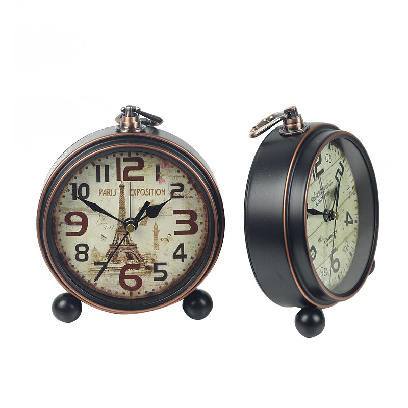 Home Decoration Bronze Gold Mute Table Clock Handicraft Vintage Alarm Clock European Style Retro Wrought Iron Craft Table Clocks