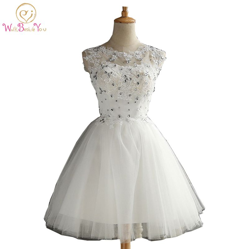 f8c0fa161 Walk Beside You Natural White Homecoming Dresses Short Ball Gown Lace  Applique Tulle Crystal Graduation Dresses