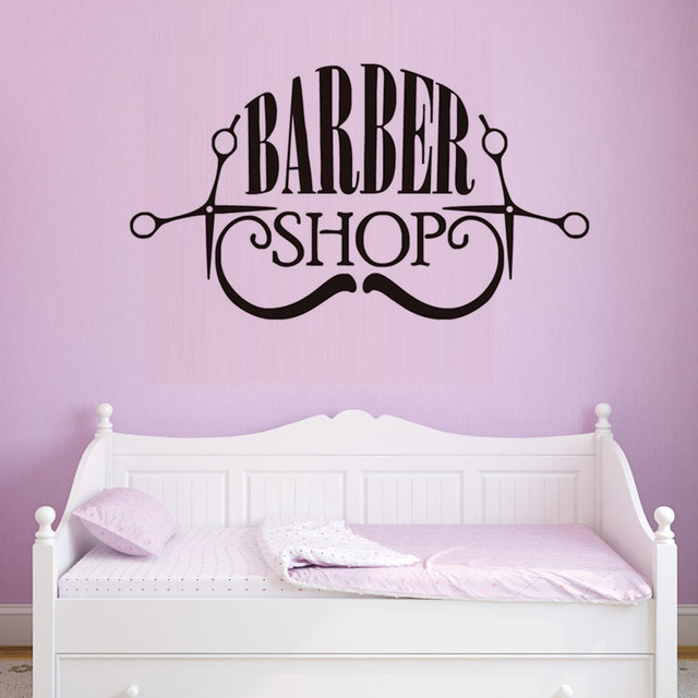 Barber Shop Vinyl Wall Sticker Hair Make Up Shop Logo Art Decals Removable  High Quality Wall