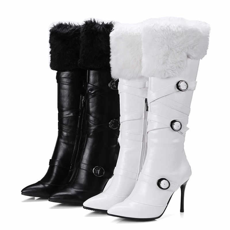 Odetina 2019 אופנה נשים גבוהה דק העקב הברך גבוהה מגפי עם ארנב פרווה הבוהן מחודדת אבזם רוכסן למעלה ארוך מגפיים בתוספת גודל 43