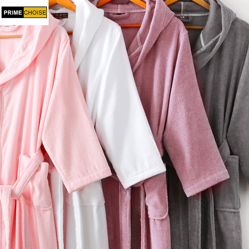 b1b79c6179 100% cotton hooded robe female thickening cotton bathrobes male women s  lovers bathrobe