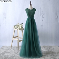 Green Evening Dress 2016 Tulle Lace A Line Formal Long Robe De Soiree