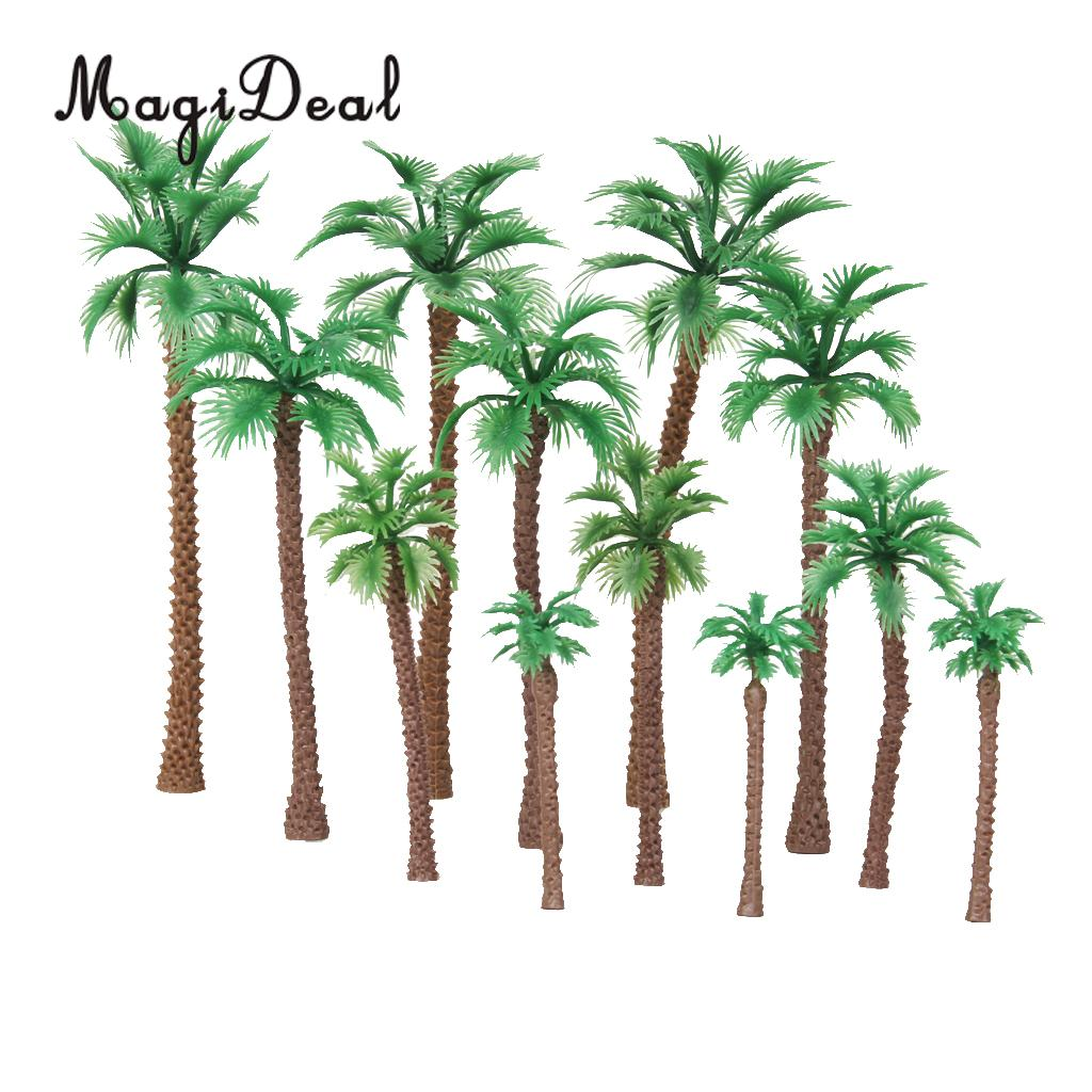 MagiDeal 12Pcs Layout Model Train Palm Trees Scale for HO O N Class Forest Street Railway Park Train Track Scenery Scene Layout