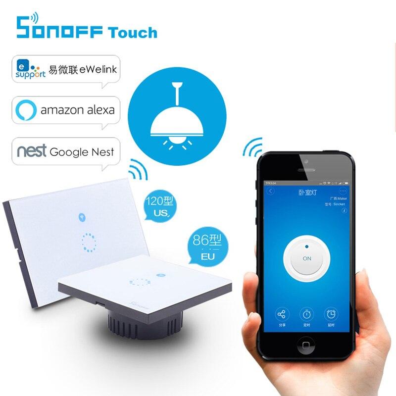 imágenes para Sonoff Itead Táctil de Pared Interruptor de la Luz Wifi, UE/EE.UU. Inteligente Panel De Vidrio Interruptor de Control Remoto Inalámbrico de Casa Inteligente a través Del Teléfono