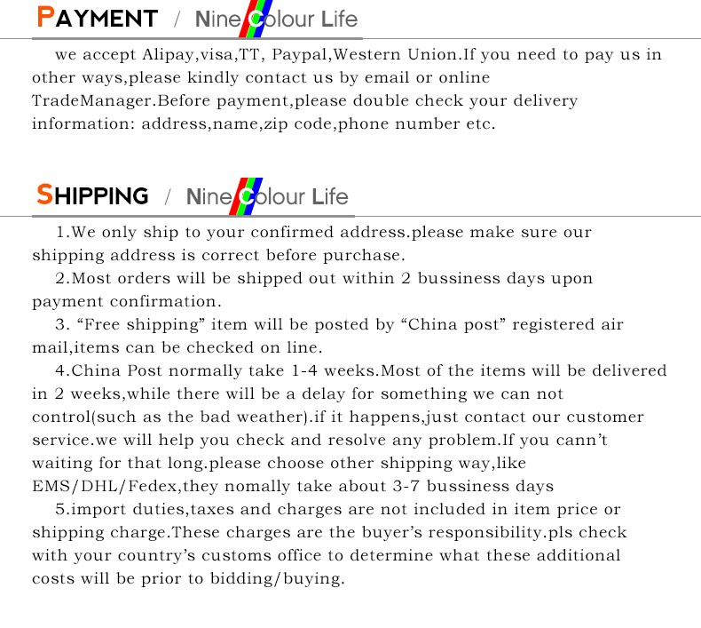 PAYMENT + SHIPPING