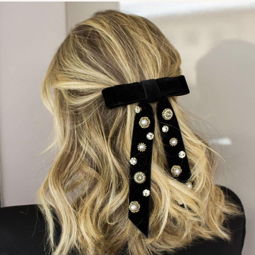 Hairpin Headdress Hair-Accessories Rhinestone Crystal Flannel Korean-Fashion Ladies Rose-Bow