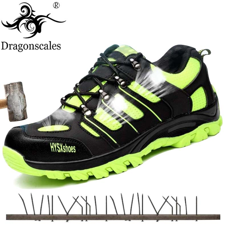 Steel Toe Safety Shoes For Men Lightweight Breathable Flyknit Mesh Work Boots Footwear Puncture Proof Construction