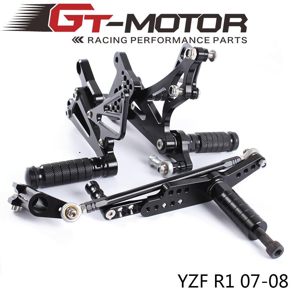 GT Motor Full CNC Aluminum Motorcycle Adjustable Rearsets Rear Sets Foot Pegs For YAMAHA YZF R1