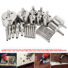 цена на 28Pcs/Set Diamond Drill Bit Hollow Drill Hole Saw Bit 6-50mm for Marble Tile Glass DAG-ship