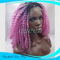 Kinky Curly Ombre Blonde Pink Color Wigs Heat Resistant Synthetic Lace Front Wigs Afro Kinky Culry Glueless Wigs For Black Women