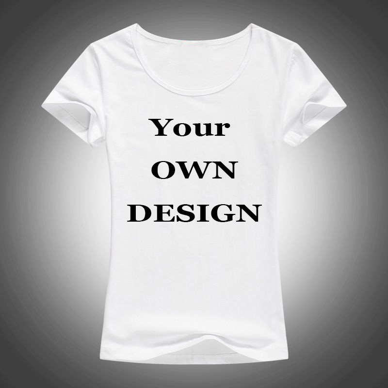 Your Own Brand Logo/Picture White Tops Custom t-shirt Asian Size T Shirt Women Clothing