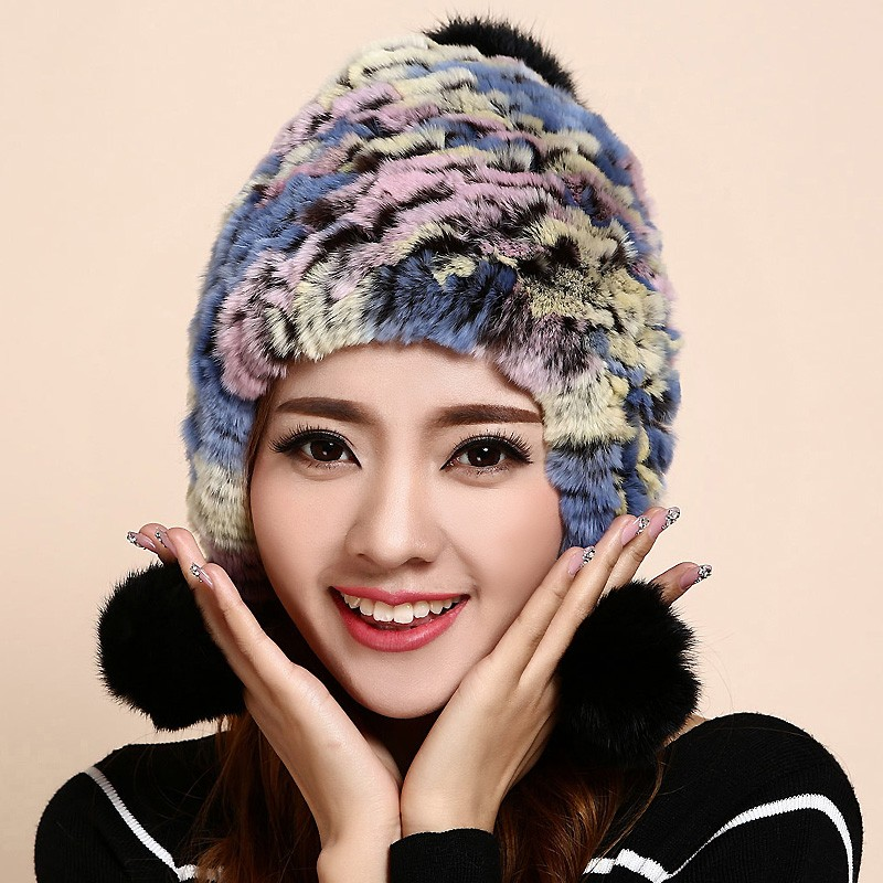 Winter Skullies Ear Flap Beanies Hat Women Genuine Knitted Natural rainbow colorful Stripe Rex Rabbit Fur Hats Russian