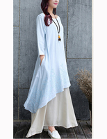 Loose Large Size Female Long Dress Chinese Style Art Long Sleeved Flax Cotton And Linen Dresses