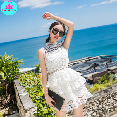 2019 Summer New Women's Stars Openwork Round Neck Slim Sleeveless Perspective Lace Holiday Cake Dress