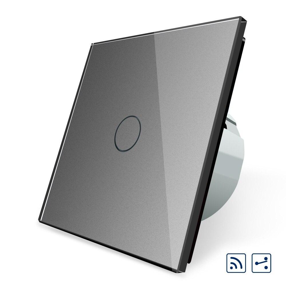 2017 Standard de L'UE, noir de Verre Cristal Switch, VL-C701SR-15, 1 Gang 2 Way Commutateur de Commande À Distance, intermédiaire et Interrupteur À Distance